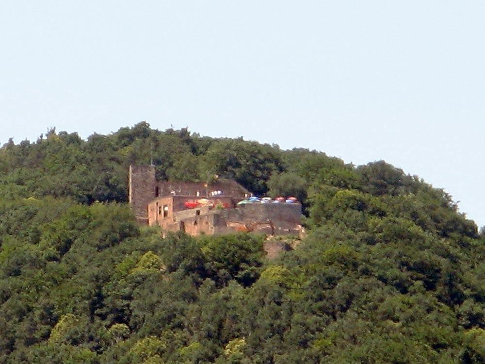 Die Rietburg mit Höhengaststätte über Rhodt in der Pfalz