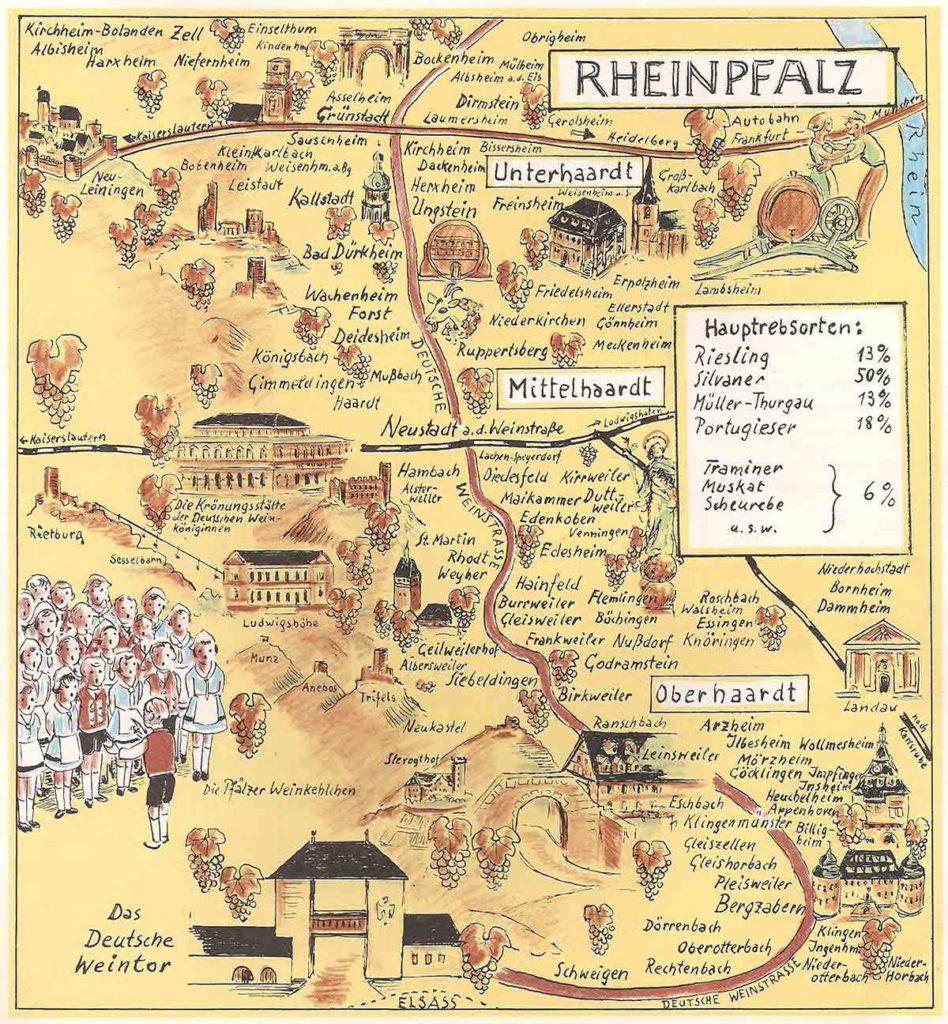 Die Deutsche Weinstraße. Historische Zeichnung von Rudi vom Endt. Herausgeber: Deutsche Weinwerbung GmbH, Mainz. Druck: Industriedruck AG, Essen