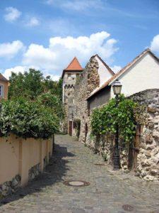 Stadtmauer mit Hahnenturm in Freinsheim in der Pfalz