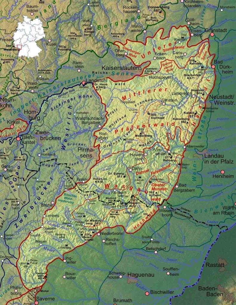 Pfälzerwald - Karte