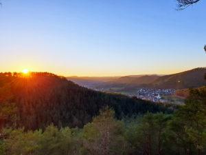 Schindhard in der Pfalz bei Sonnenuntergang